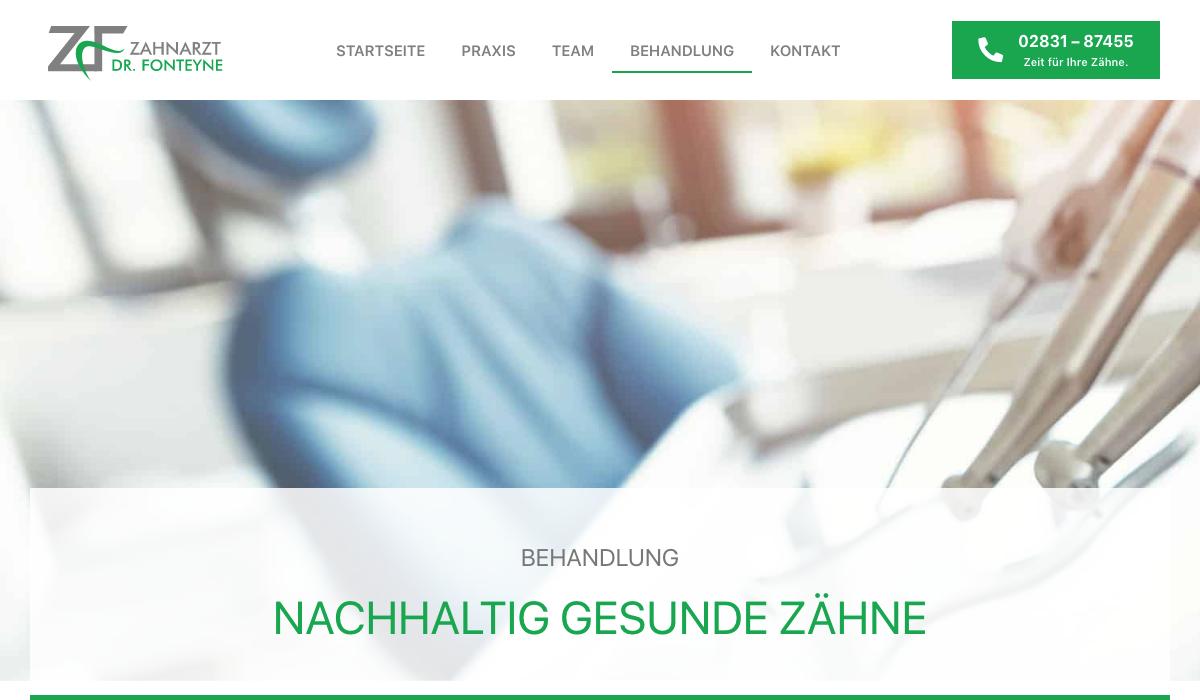 Website Texte Zahnarzt Fonteyne